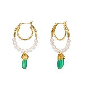 pearl stone dangle jewelry earrings gold drop hoop